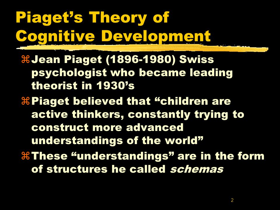 theory of cognitive development and children Theory to development where each stage of development his theories of cognitive development were inspired by • children at this stage lack an.