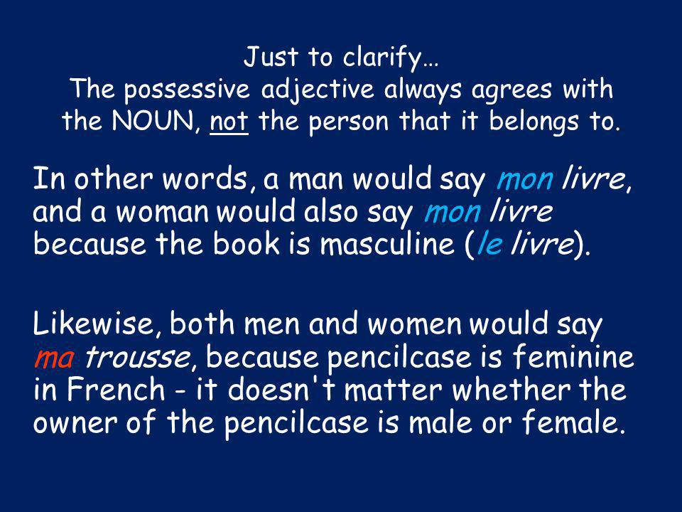 Just to clarify… The possessive adjective always agrees with the NOUN, not the person that it belongs to.