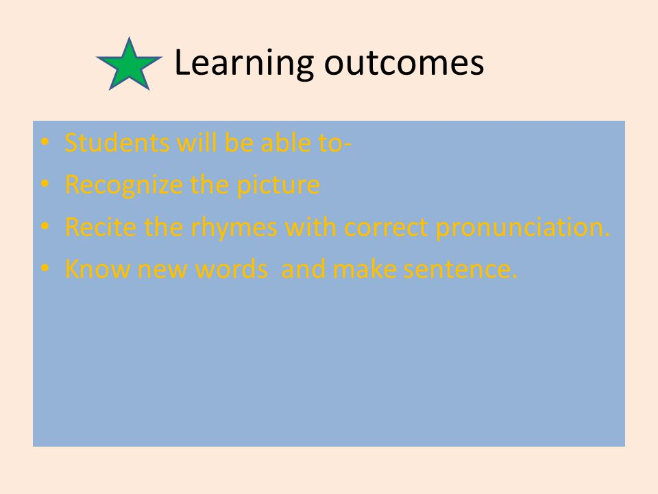 Learning outcomes Students will be able to- Recognize the picture