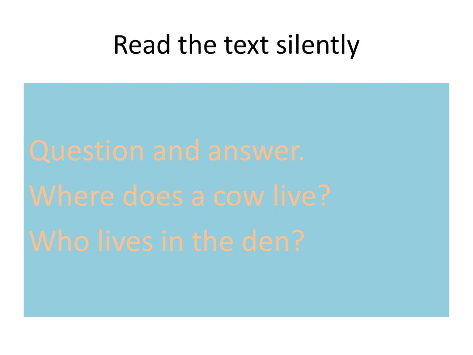 Question and answer. Where does a cow live Who lives in the den