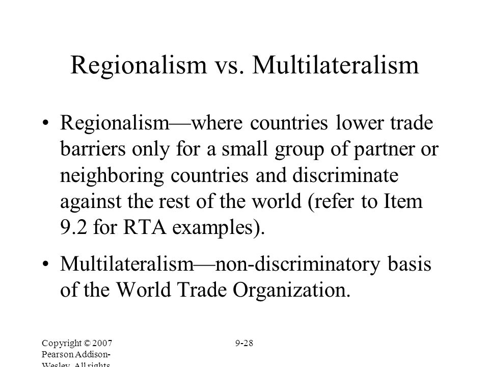 a comparison between multilateralism and regionalism The headlong rush towards regionalism has gained new momentum in recent years the european union, whose long-standing commitment to regional agreements has arguably triggered this rush, is moving on with its ambitious program of announced regional deals, including with russia.