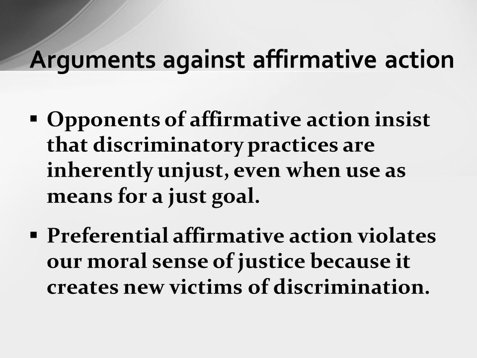 case against affirmative action essay Find essay examples essay the case against affirmative action 2 - research paper let us find you another research paper on topic the case against affirmative.