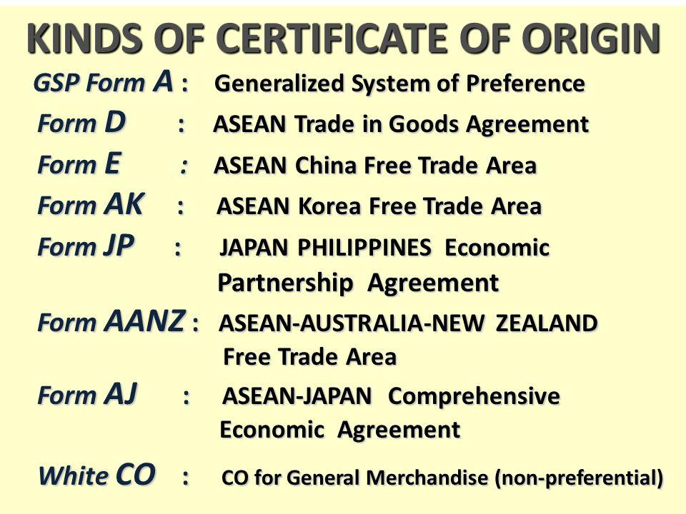 KINDS OF CERTIFICATE OF ORIGIN  Certificate Of Origin Forms