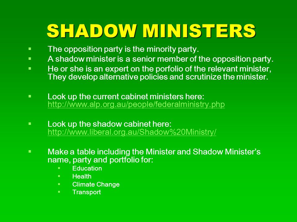 SHADOW MINISTERS The opposition party is the minority party.