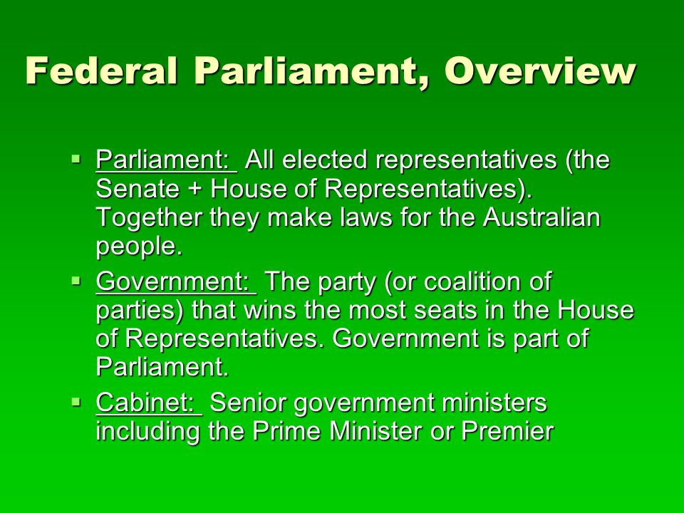 Federal Parliament, Overview