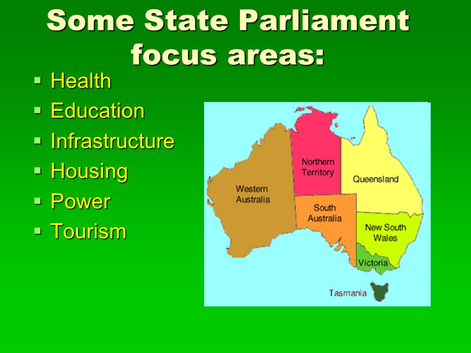 Some State Parliament focus areas: