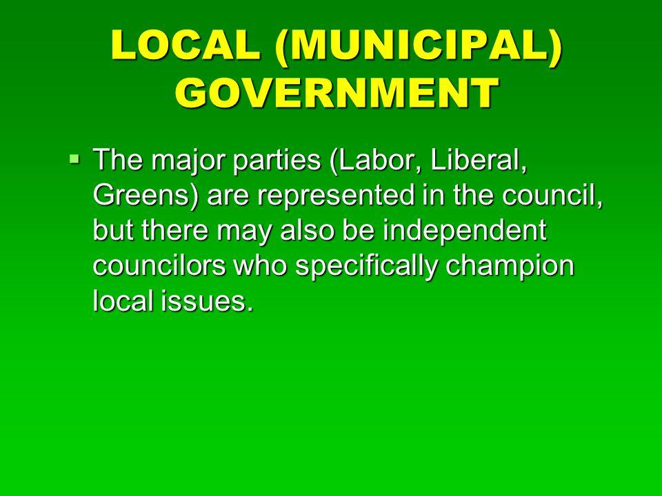 LOCAL (MUNICIPAL) GOVERNMENT