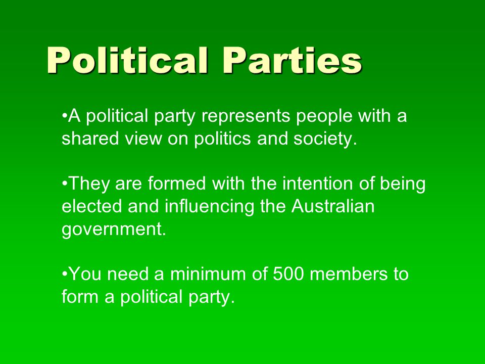 Political Parties A political party represents people with a shared view on politics and society.