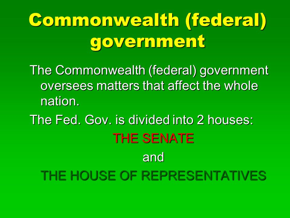 Commonwealth (federal) government