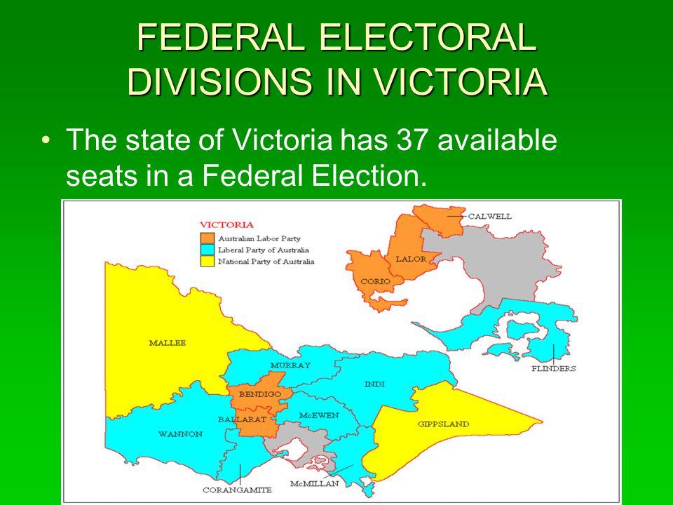 FEDERAL ELECTORAL DIVISIONS IN VICTORIA