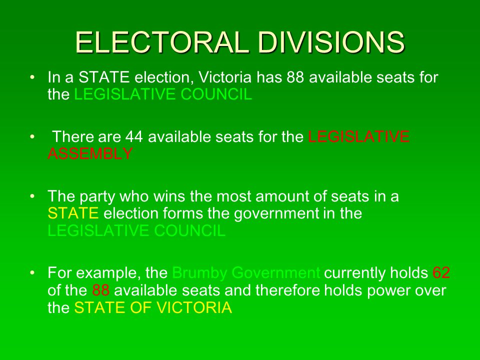 ELECTORAL DIVISIONS In a STATE election, Victoria has 88 available seats for the LEGISLATIVE COUNCIL.