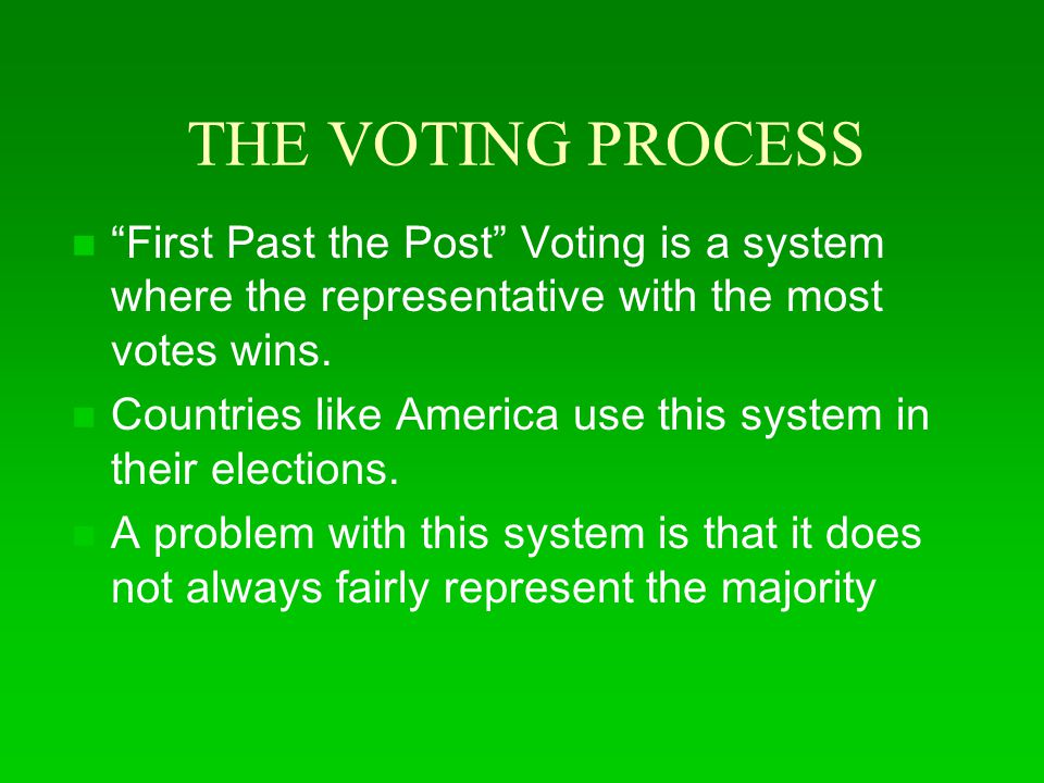 THE VOTING PROCESS First Past the Post Voting is a system where the representative with the most votes wins.