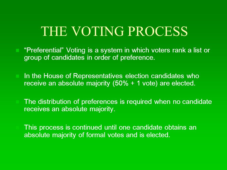 THE VOTING PROCESS Preferential Voting is a system in which voters rank a list or group of candidates in order of preference.