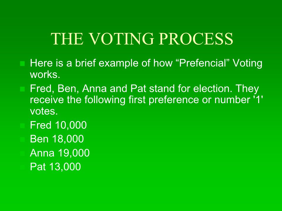 THE VOTING PROCESS Here is a brief example of how Prefencial Voting works.
