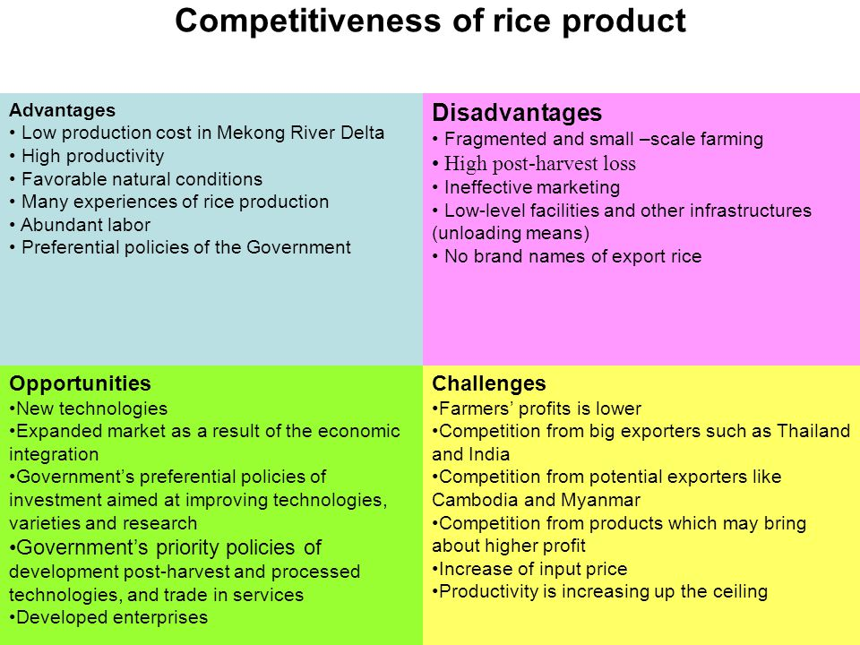 Competitiveness of rice product