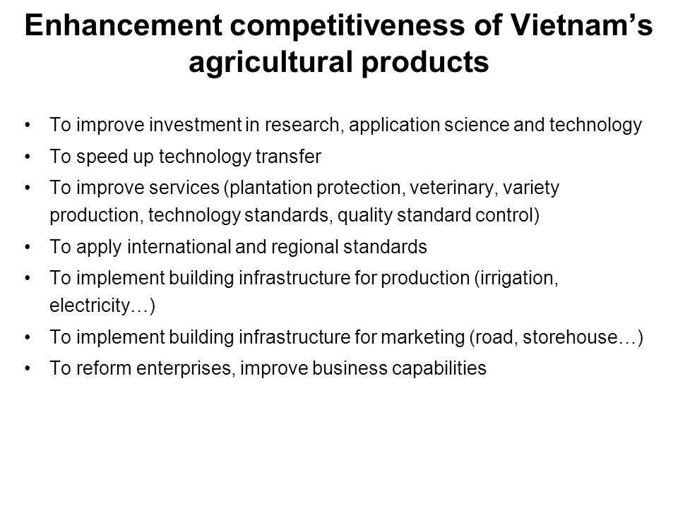 Enhancement competitiveness of Vietnam's agricultural products