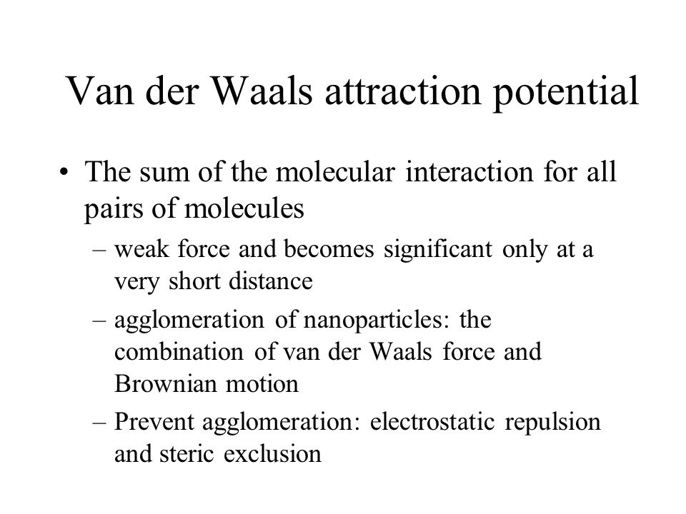Van der Waals attraction potential
