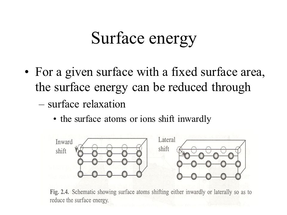 Surface energy For a given surface with a fixed surface area, the surface energy can be reduced through.