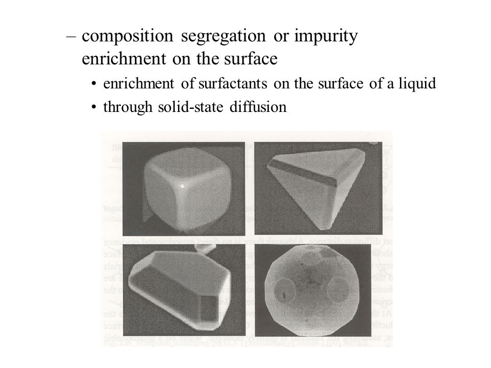 composition segregation or impurity enrichment on the surface