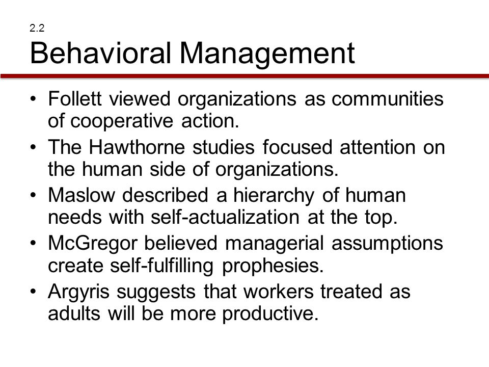 2.2 Behavioral Management