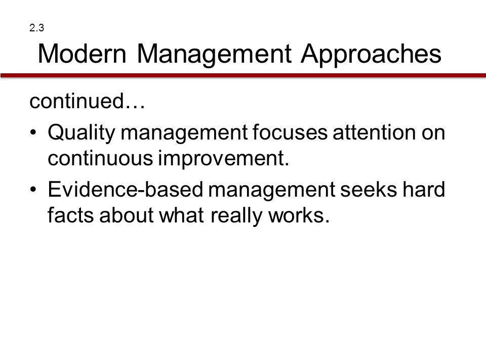 2.3 Modern Management Approaches