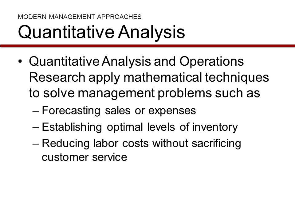 MODERN MANAGEMENT APPROACHES Quantitative Analysis