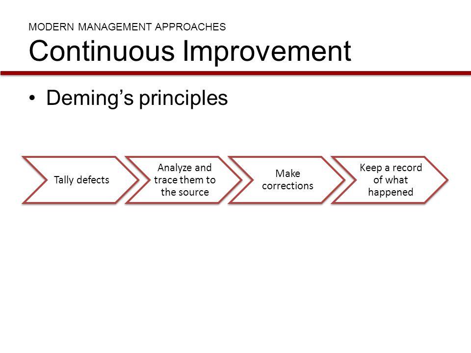 MODERN MANAGEMENT APPROACHES Continuous Improvement