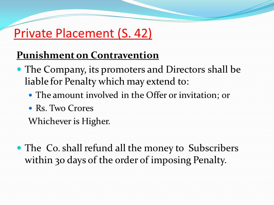 Private Placement (S. 42) Punishment on Contravention