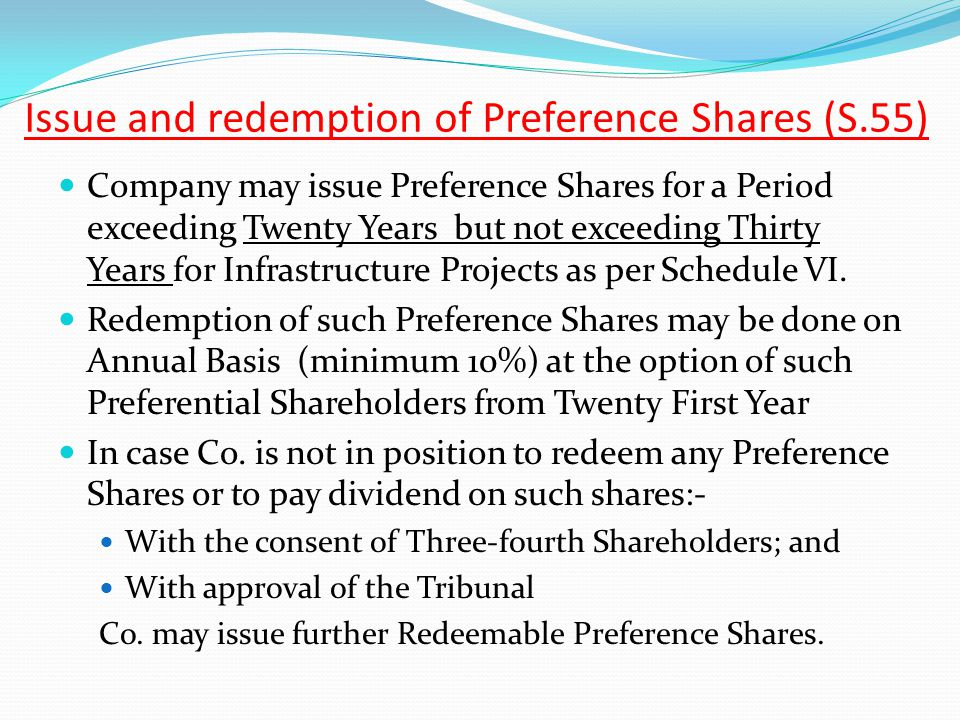 Issue and redemption of Preference Shares (S.55)