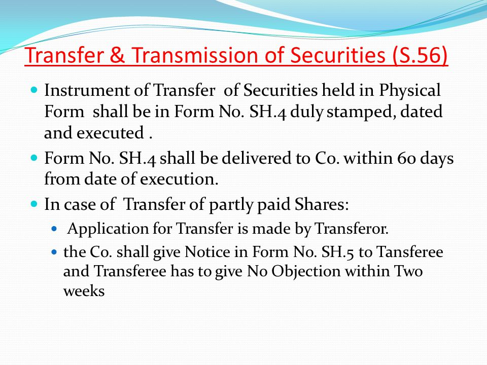 Transfer & Transmission of Securities (S.56)