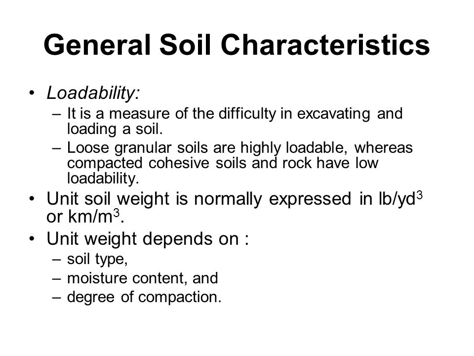 Earthmoving materials and operations ppt download for Different types of soil and their characteristics