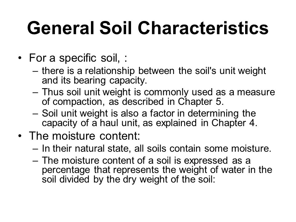 Earthmoving materials and operations ppt download for Soil unit weight