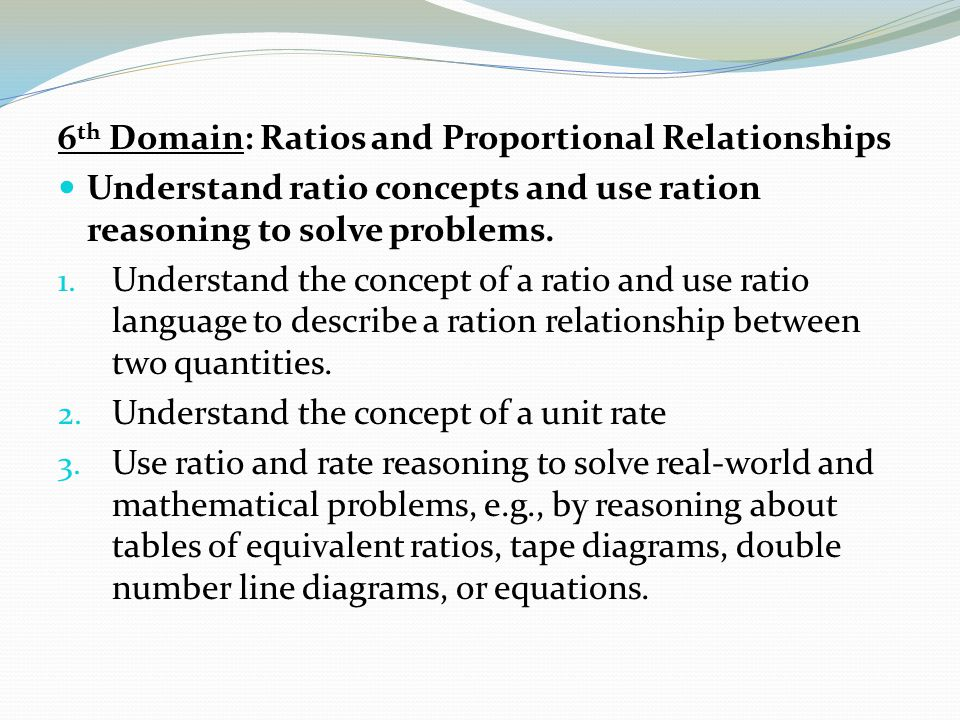 common core state standards for mathematical content on ratios and proportional relationship