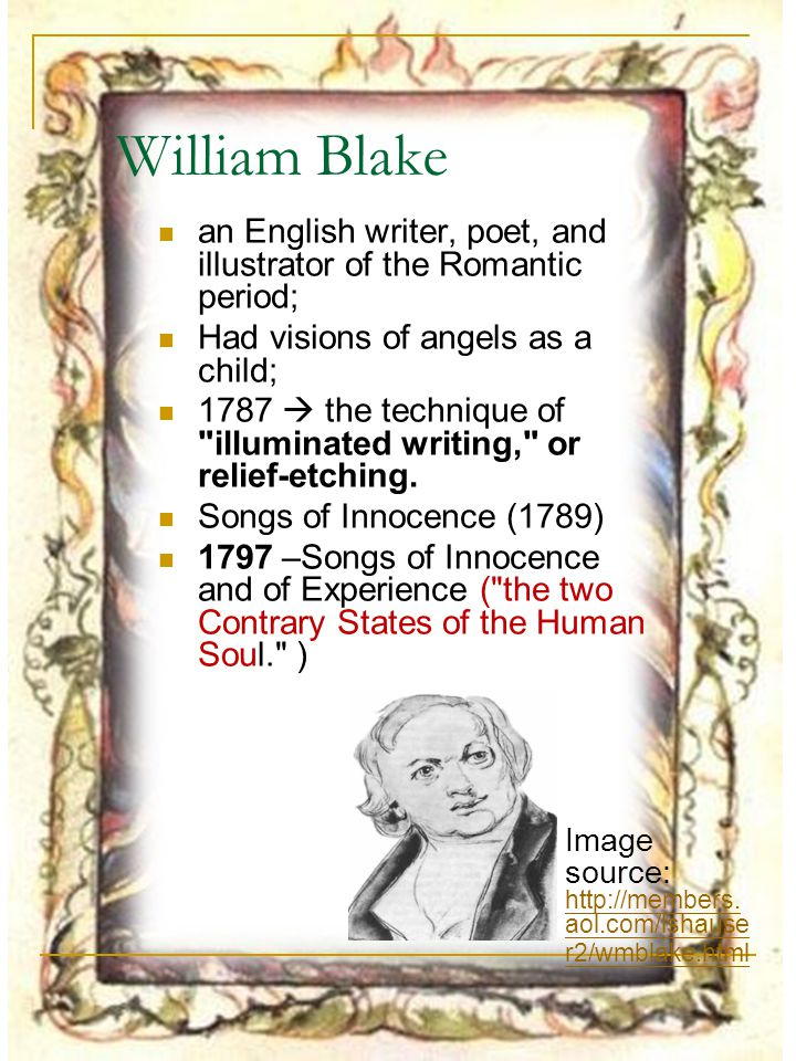 the romantic period and william blake William blake - the book of urizen this is the web version of my ma thesis william blake - the book of urizen  major influences the romantic period poets of early-romanticism mysticism and romanticism protestant mysticism political radicalism.