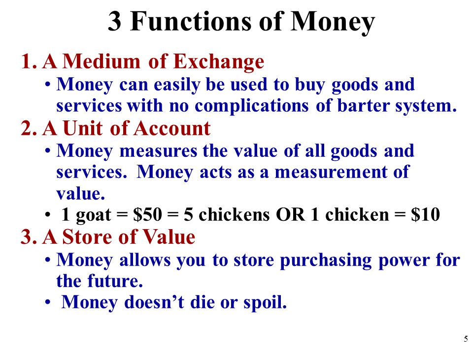 3 Functions of Money 1. A Medium of Exchange 2. A Unit of Account