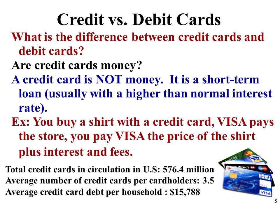 Credit vs. Debit Cards What is the difference between credit cards and debit cards Are credit cards money