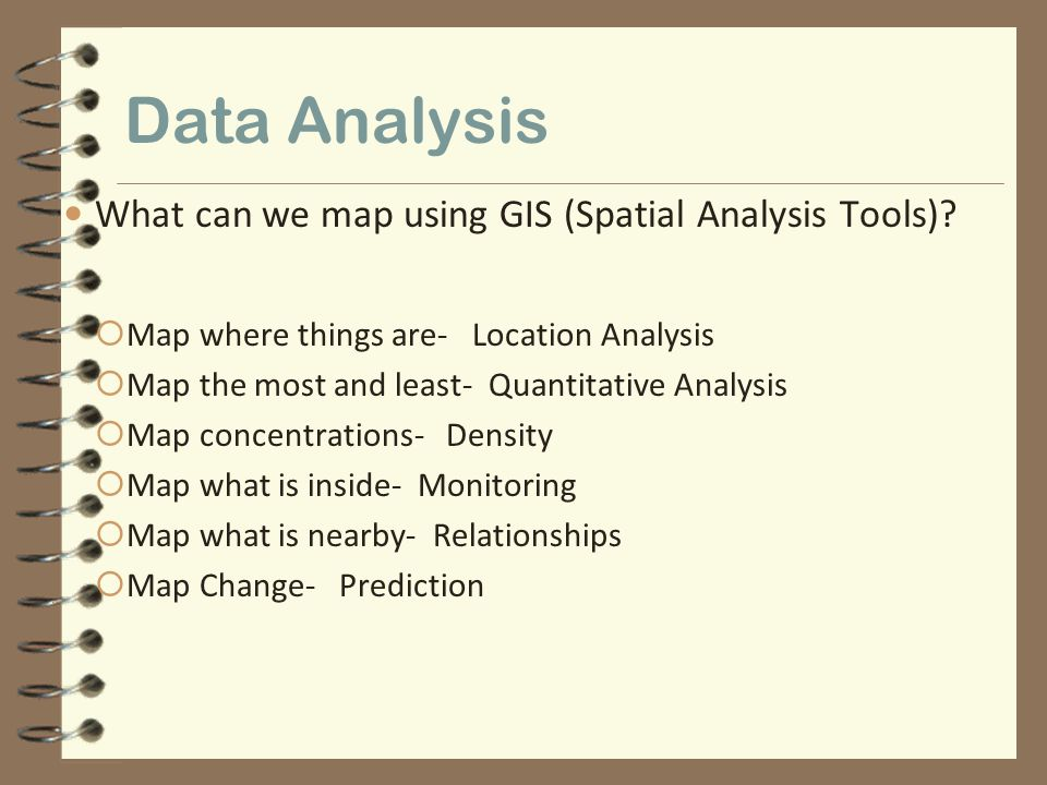Data Analysis What can we map using GIS (Spatial Analysis Tools)