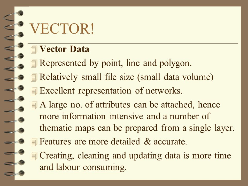 VECTOR! Vector Data Represented by point, line and polygon.