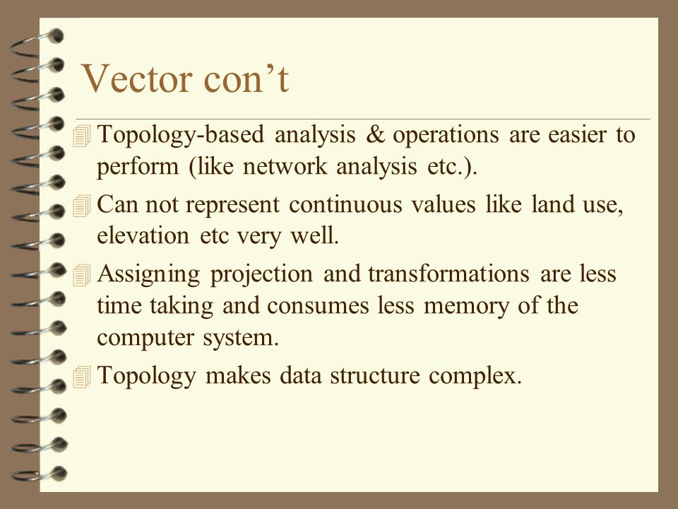 Vector con't Topology-based analysis & operations are easier to perform (like network analysis etc.).
