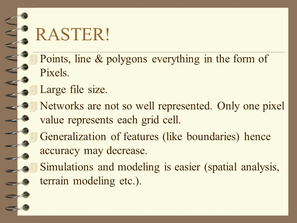 RASTER! Points, line & polygons everything in the form of Pixels.