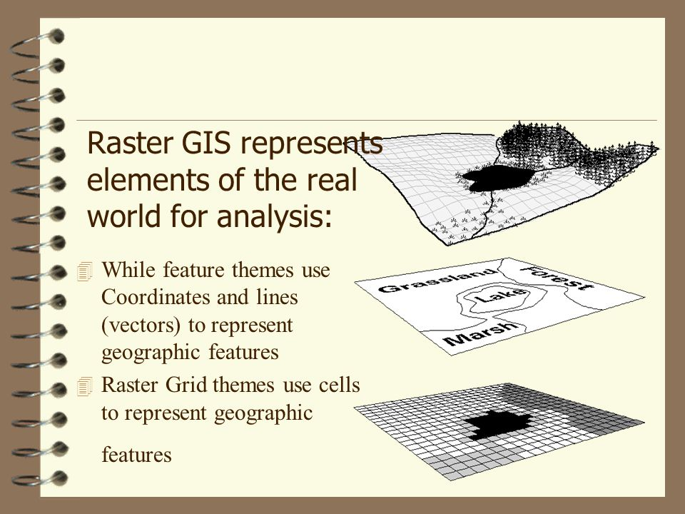 Raster GIS represents elements of the real world for analysis: