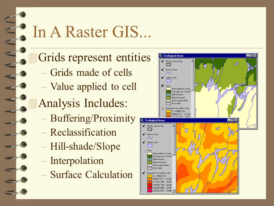 In A Raster GIS... Grids represent entities Analysis Includes: