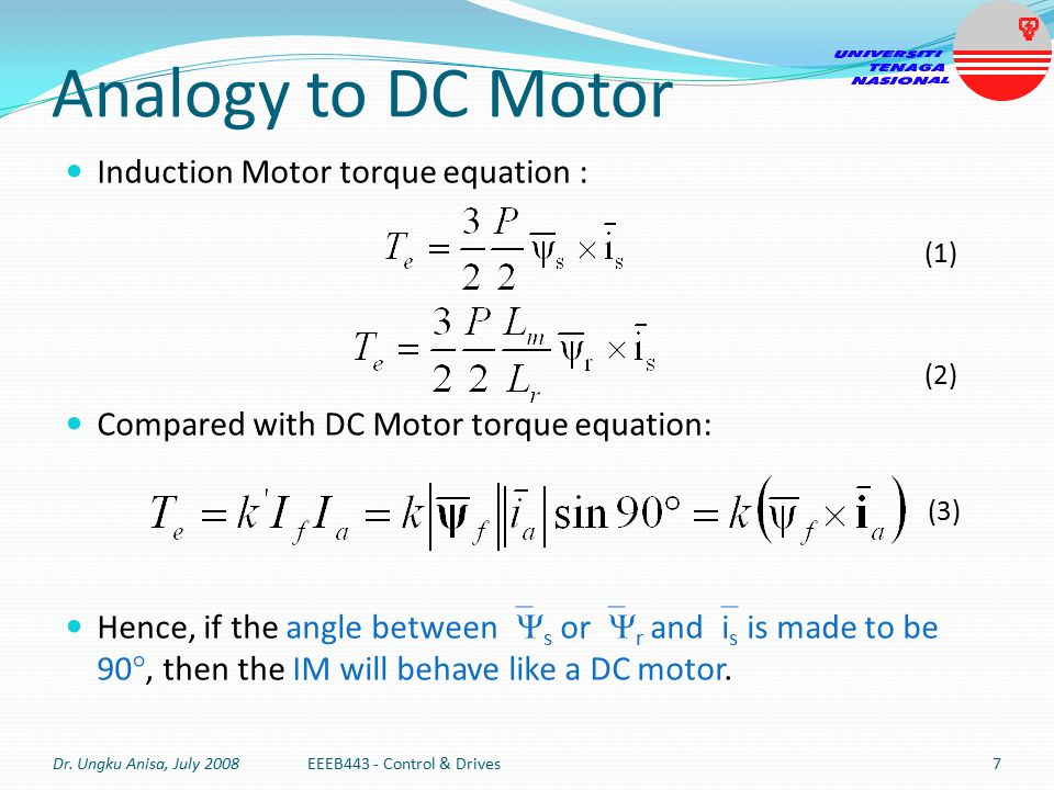 Torque equation in induction motor for Electric motor torque calculator