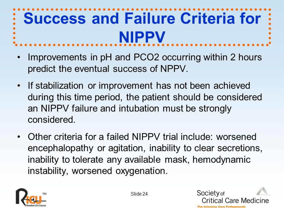 Success and Failure Criteria for NIPPV