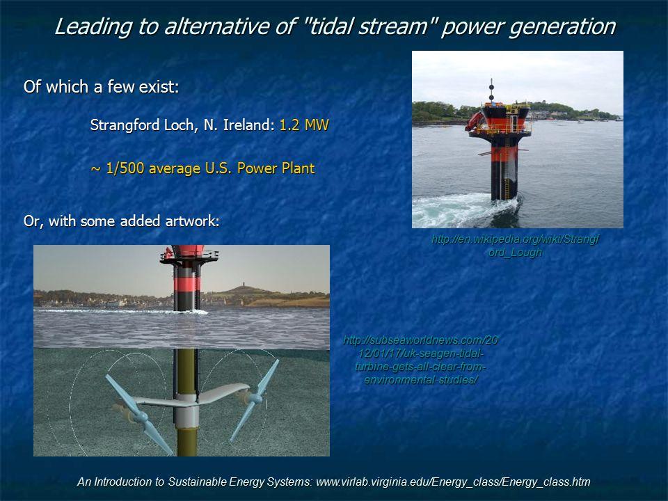 Leading to alternative of tidal stream power generation