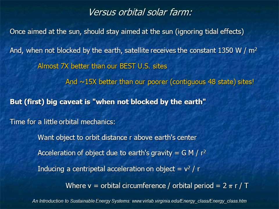 Versus orbital solar farm:
