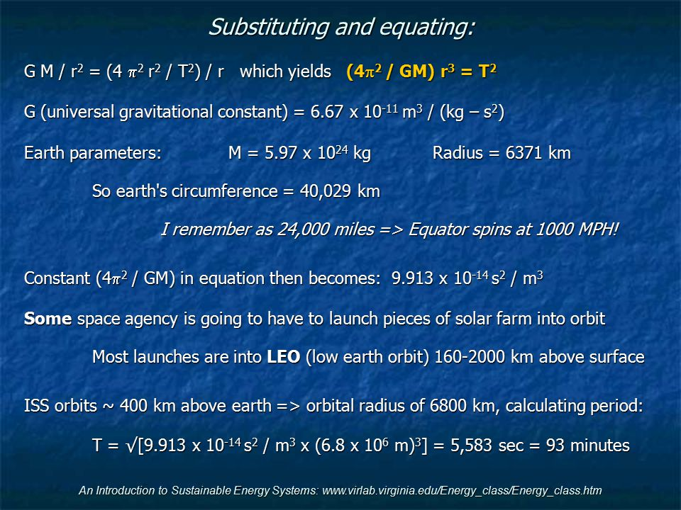 Substituting and equating: