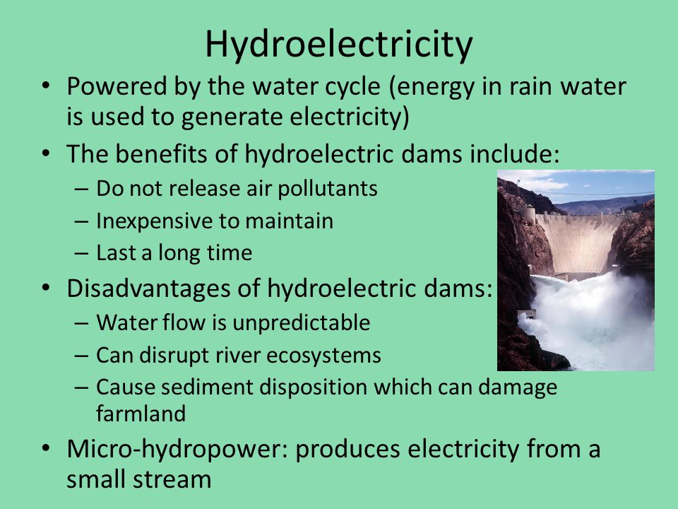 Hydroelectricity Powered By The Water Cycle Energy In Rain Water Is Used To Generate Electricity The Benefits Of Hydroelectric Dams Include A on micro hydroelectric power