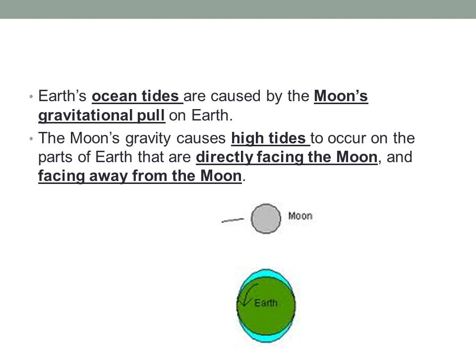 Earth's ocean tides are caused by the Moon's gravitational pull on Earth.