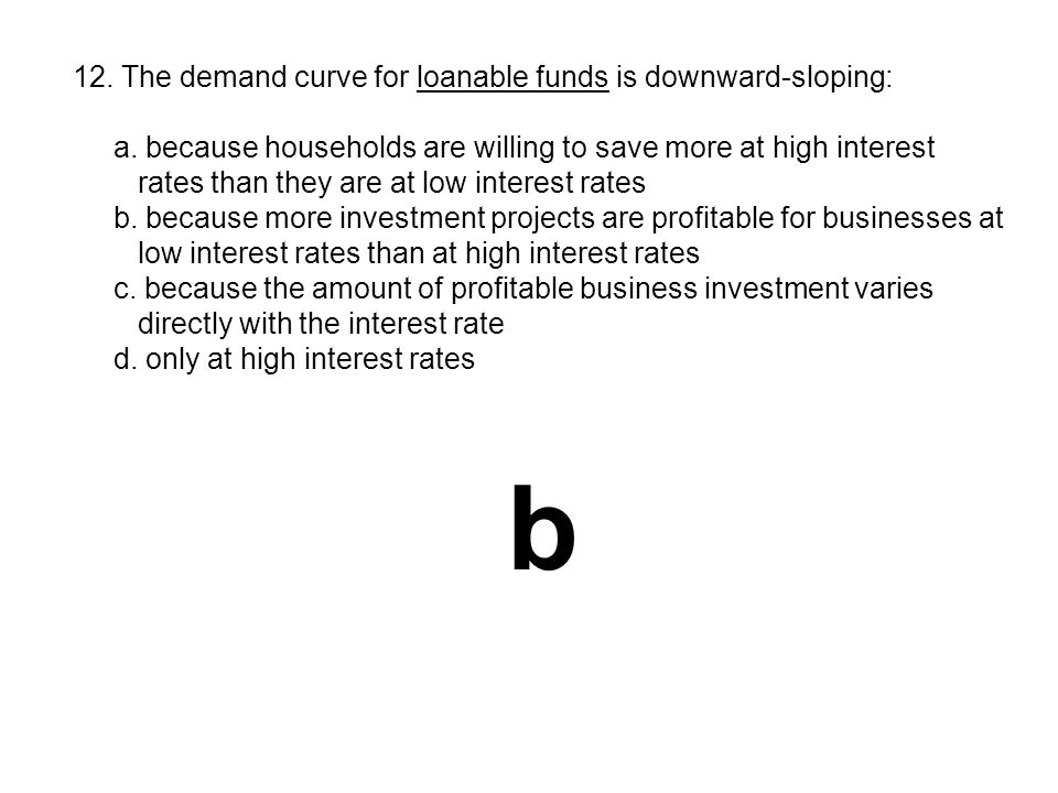 b 12. The demand curve for loanable funds is downward-sloping: